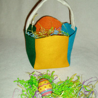 Vibrant MultiColor Felt Easter Basket by BrennysBibbies on Etsy