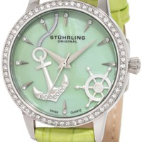 Stuhrling Original Women's 520.1115L88 Vogue Audrey Verona Del Mar Swiss Quartz Mother-Of-Pearl Swarovski Crystal Green Watch