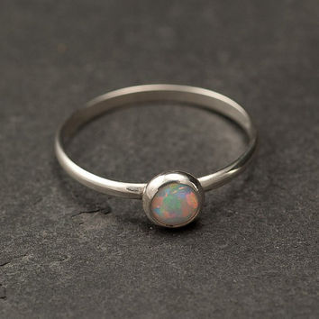 Opal Ring Silver Opal Ring Simple Modern Opal Ring by Artulia