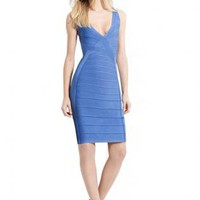 Bqueen Deep V-Neck Dress Blue H183L