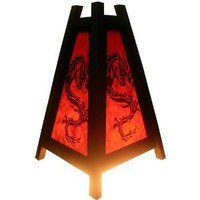 Amazon.com: Handmade RED Pyramid Table ART on Lamp Asian Oriental Dragon Art Decor Cheap Price Made From Thailand: Everything Else
