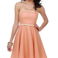 Darling Polka Dot Dress - Strapless Dress - Pink Dress - Peach Dress - $78.00