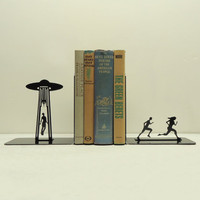 UFO Abduction Bookends Free USA Shipping by KnobCreekMetalArts