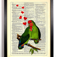 Love Birds, Tropical Green Love Birds, Vintage Dictionary Book Page Art Print, 8 x 10 Print