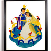 Snow White Fairy tale Print, Giclee Art Print, 8 x 10 Kids Room Nursery Love King Queen Snow White Seven Dwarfs