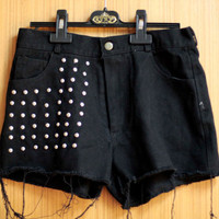 Stud High Waist SHORT DENIM JEANS handmade studs spikes rivets sew fix punk rock style