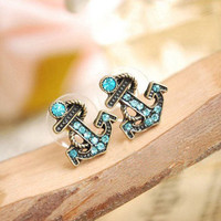 Retro navy diamond sea anchor earrings & stud