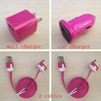 Home AC Wall+Car Charger+2 x USB Data Sync Cables For iPhone 4/4s