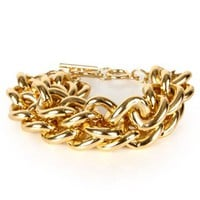 Gold 2 Row Chain Link Bracelet