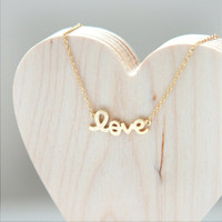 LOVE Necklace in gold by laonato on Etsy