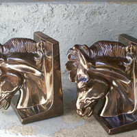 Horse Head Bookends Vintage Ceramic