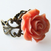 Adjustable Rose Filigree Ring, Ladies Rose Ring, Girls Adjustable Ring