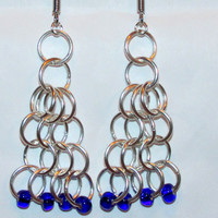 Beaded Chainmaille Earrings in Blue