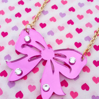 Pink Bow Acrylic Necklace by KorpseCrafts on Etsy