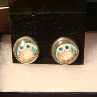 Cute Little Owl Stud Earrings in Silver (986)