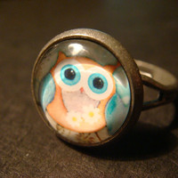 Cute Little Owl Antique Silver Ring (987)