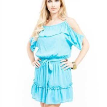Amazon.com: G2 Chic Ruffled Peasant Dress: Clothing