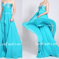 Strapless Sweetheart Empire Long Blue Chiffon Prom Dresses, Bridesmaid Dress, Evening Dress