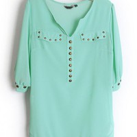 Rivets Chiffon Green Blouse$38