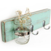 Seafoam key hook wood wall vase home organization Sweet Mint vase