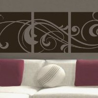 """Amazon.com: Windy Scroll Paneling vinyl wall lettering words sticky art home decor quotes stickers decals, 16""""x45"""", Toffee Brown Matte: Home & Kitchen"""