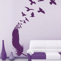 Florals and tribal flowers decals - Feather flow vinyl decal - Wall Decals , Home WallArt Decals
