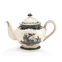 Elegant Porcelain Black Toile Teapot For Fine Teas And Dining