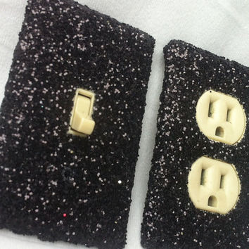 Midnight Black Glitter Switchplate / Outlet Cover Set by ArtZodiac