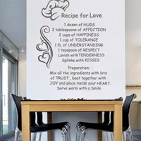 Kitchen wall art - Recipe for Life - Wall Decals , Home WallArt Decals