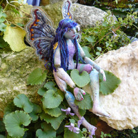 Fairy doll OOAK cloth body jointed blue by cherrycottagecrafts