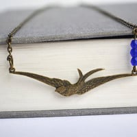 Flying Swallow Bird Necklace, Cobalt Blue Czech Beads, Free Flying Swallow Sparrow Bird Necklace, Bird Jewelry Canadian Shop