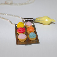 Miniature baking cupcake necklace muffin pan necklace by Dleesnow