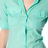 3/4 Sleeve Button-Up Shirt - Mint from Basics at Lucky 21 Lucky 21