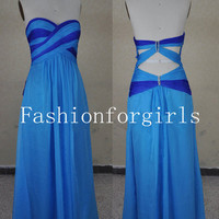 Strapless Sweetheart Chiffon Blue Prom Dresses from fashionforgirls