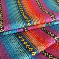 South American Fabric, Peruvian Fabric, Woven, Bright Pampa Stripes, 1 Yard