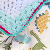 Playful dinosaur crochet baby blanket, granny square reversible crochet baby blanket