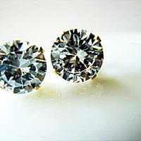 7mm Large Clear Brilliant Cut Cubic Zircon 925 Stud