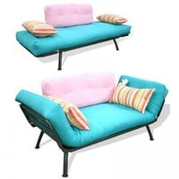 Modern Loft Solid Series Mali Futon Combo (Teal Pink Candy) (29&amp;quot;H x 31&amp;quot;W x 61&amp;quot;D)