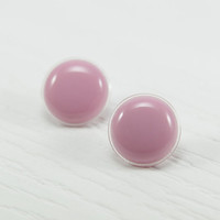 Candy Pink Stud Earrings 20mm - Pink Studs - Modern Round Button Earrings - Hypoallergenic Stainless Steel Posts - Bridesmaid Gifts