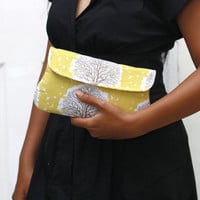 Simple Clutch Purse - Majestic Oak in sunglow - Yellow Clutch - Padded Clutch