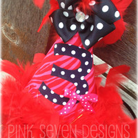 Hot Pink & Red Zebra BIRTHDAY Hat by pinksevendesigns on Etsy
