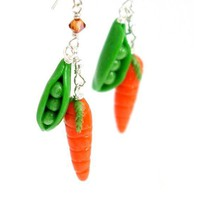 Peas and carrots earrings by inediblejewelry on Etsy