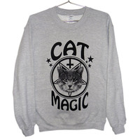 Occult Cat Sweater - Cat Magic, Cat Sweatshirt, Goth, Pastel Goth, Grunge, Satanic, Hipster