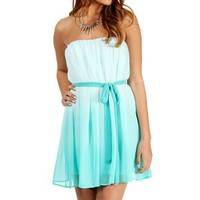 Alana-Mint Ombre Strapless Dress