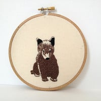 Bear Cub Embroidery Hoop Art wildlife by BackStitchAlley on Etsy