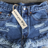 High waist denim shorts Studded super frayed all by jeansgonewild