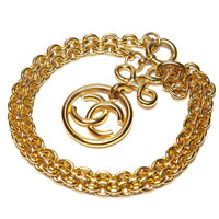 PRICE REDUCED vintage rare authentic chanel gold tone necklace cc round circle pendant logo french chain link 28.5""