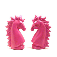 pink unicorns, unicorn, ceramic figurines  //  pink decor, mythical creature statue, horse, bright, upcycled home decor, funky