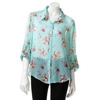 About A Girl Sheer Skull Tie-Front Top