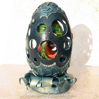 Nested four in one polymer clay ornamental egg with stand